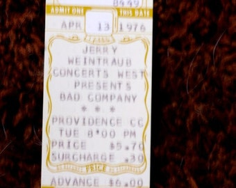 Bad Company Ticket 1976 Advance Ticket Providence Civic Center Concert Rock n Roll Venue LIve