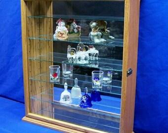 Wall Mount Curio Display Cabinet Oak Hardwood