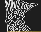 INSTANT DOWNLOAD - Minnesota Land of 10,000 Lakes - 8x10 Illustrated Print by Mandy England