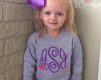 Monogrammed Sweatshirt for toddlers and girls - Sweetheart Sweatshirt - gray, purple and hot pink bow accent -- great for Autumn and Winter