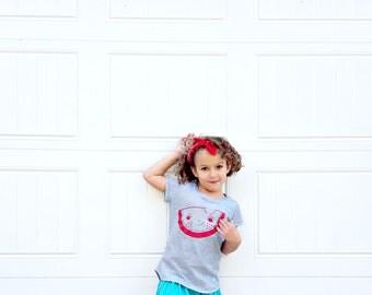 Girls T Shirt | Watermelon Print | Stripe Top | Cap Sleeve | Screen Print | Kids Clothing | Kawaii Fruit | Cute Illustration | Simple Design