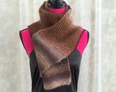 Brown and Tan Striped Hand Knit Shawl Scarf Wrap - Ladies Handmade Accessory