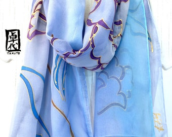Silk Scarf Hand Painted, Reversible, Blue Silk Scarf Japanese, Blue Kimono Silk Chiffon Scarf, Double Layered Scarf, 11x60 inches.