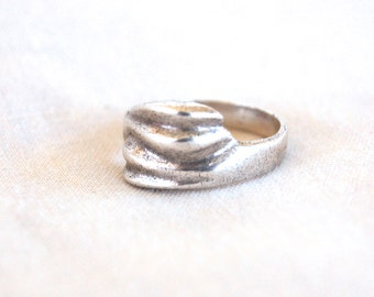 Mexican Sterling Silver Ring Vintage Modernist Wrap Band Size 7 Abstract Made in Mexico