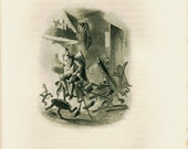 """1883 Antique Print, F. O. C. Darley Illustration of the Tale """"The Bold Dragoon"""" by Washington Irving, Engraving, Black and White"""