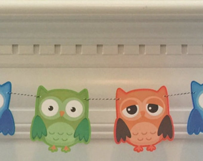 Party Banner: Die Cut Boy Owls in Blue, Green & Orange - Baby Shower Birthday Party Decorations Garland Photo Prop
