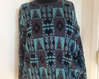 PRICE REDUCED Vintage Gary Reed sweater, blue and black geometric print