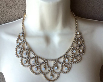 Vintage Rhinestone Choker Necklace 1950s Aurora Borealis Rhinestones Vintage Bride Opal Rhinestones Gold