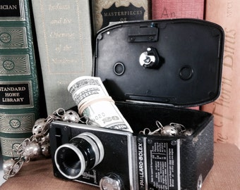 Secret Box, Stash Box repurposed from Authentic Vintage Paillard-Bolex 8mm Movie Camera