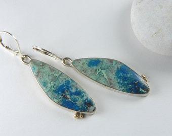 Azurite Chrysocolla Earrings Mixed Metal Earrings Handmade Artisan Earrings Luxury Jewelry Mixed Metal Jewelry