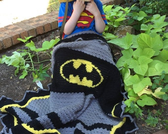 Crochet Pattern Hero Of Gotham Blanket Instant Download Inspired by Batman Character