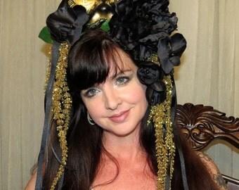 CARNIVALE BLACK CAT Mardi Gras Carnivale Style Headdress