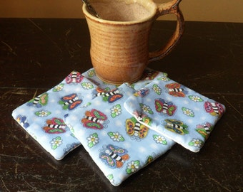 Handmade Butterfly Mug Mats, Four Cotton Fabric Butterfly Coasters