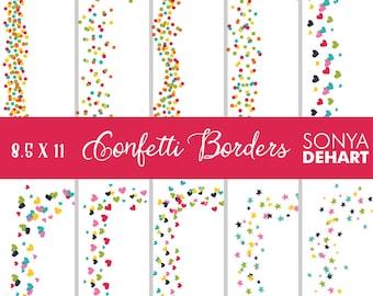 Confetti Digital, Digital Borders, Confetti Clipart, Border Clipart, Border Clip Art, Digital Confetti, Clip Art Confetti CA233