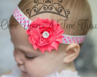 Neon Pink White Polka Dot Print Shabby Flower Headband Photo Prop - Newborn Baby Hairbow - Little Girls Hair Bow Bright Birthday Color Hair