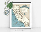 CALIFORNIA MAP Print Digital Download - printable vintage map for framing, totes, pillows & cards - picture map art