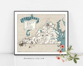 VIRGINIA MAP - Instant Digital Download - printable vintage map for framing, crafts, scrapbooking, wedding gifts, cards, tags, totes, tags