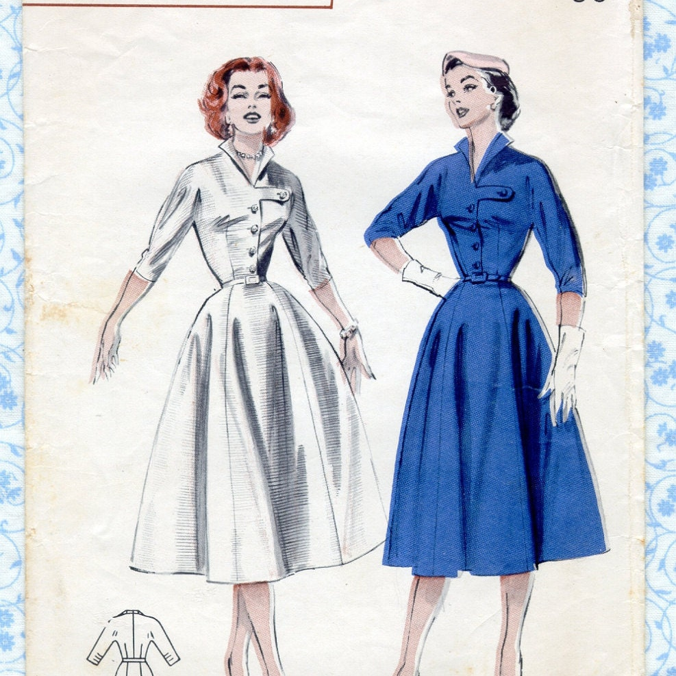 Vintage 1950s Womens Dress Sewing Patterns Butterick 6710
