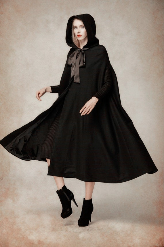 Black Wool Hooded Cape Maxi Hooded Cloak Winter Coat Jacket