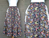 Vintage Floral Bohemian Maxi Skirt // High Waisted Button Down 70s Peasant Skirt