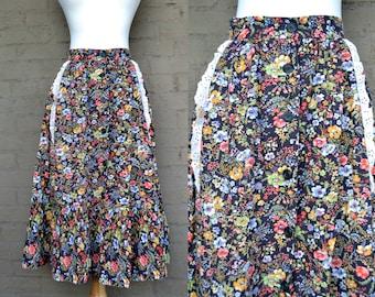 Vintage Bohemian Maxi Skirt, Floral 70s Peasant Skirt