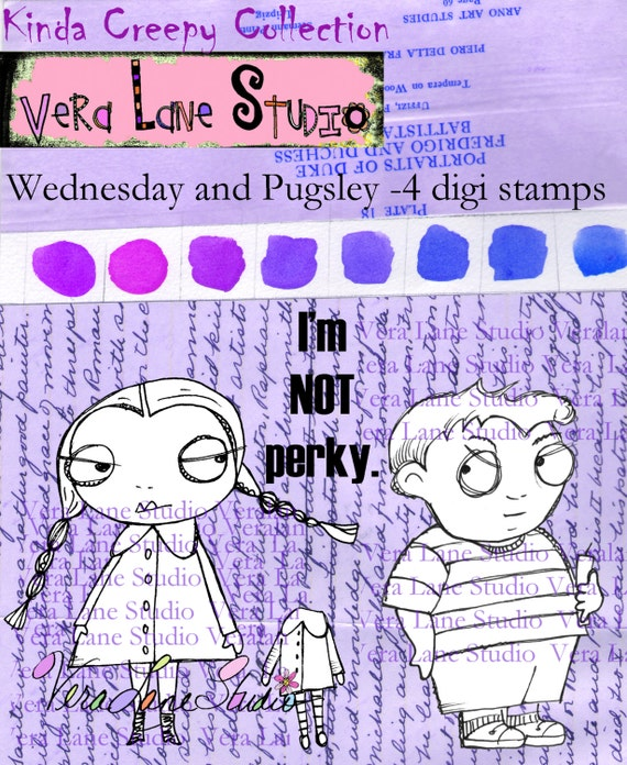 Wednesday and Pugsley - creepy and kooky character digi stamps for instant download
