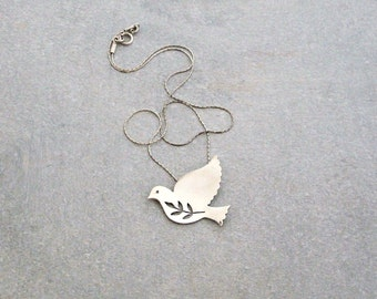 Silver Dove Necklace - First Communion Gift - Holy Spirit Necklace - Silver Statement Necklace - Bird Necklace - Sterling Silver Necklace