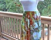 Medium Hi Lo Calla Lily Asymmetrical  Rayon Skirt, Tie Dyed, Ice Dyed, Peach And Green, Agate Design,  READY TO SHIP