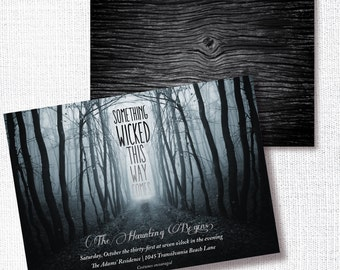 Halloween Party Invitation, Printable, Adult Halloween Party Invite, Costume, Cocktail, Something Wicked This Way Comes, Modern Invite