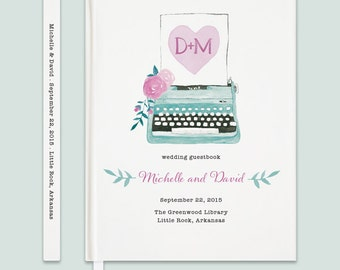 Typewriter Wedding Guestbook, Vintage Typewriter Guestbook, Custom Wedding Guestbook, Hardbound Guestbook, Watercolor Typewriter Guest Book