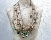 Boho necklace infinity scarf , Gray loop , wooden beads , Linen Hand Knitted wrap , knit natural summer , Bohemian clothing , Gypsy women