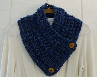 Crochet Button Cowl Scarf Navy Royal Blue Wood Buttons Neckwarmer Scarflette