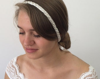Bridal Head Wrap, Rhinestone Headband, Embriodered Hairband, Wedding Headband, Pearl Hair Jewelry, Ribbon Headpiece, ReddApple