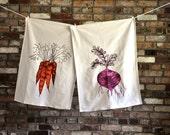 Screen Print Flour Sack Tea Towel Gift Set, Root Vegetables, Beet, Carrot, Turnip, Radish Hostess Gift Pink, Orange, Vegan, Purple Natural