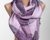 Lilac and Purple Scarf Wrap . Women Shawl Neck Wrap. New Season Gift Scarf.