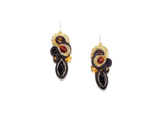 Baltic Amber Soutache Earrings. Bead Embroidered Amber Drop Earrings. Black Brown Gold Soutache Wedding Jewelry