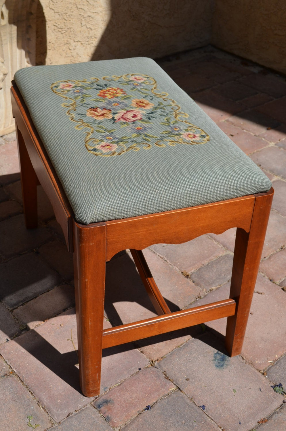 Antique Blue Floral Needlepoint Piano Bench With Maple Wood