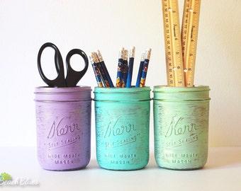 Dorm Decor - Home Office Decor - Painted Mason Jar - Pencil Holder - Vase Pink Mint Cream Gold Copper Grey Rose gold