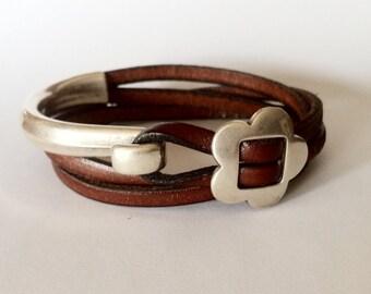 Women bracelet, leather bracelet, wrap bracelet,  silver bracelet, Hook clasp, FOR ENGRAVE, flower bracelet, gift for mom