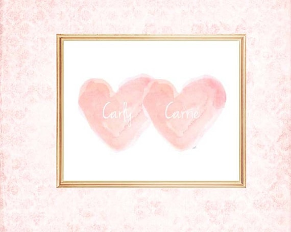 Blush Art for Nursery, Sisters 8x10 Personalized Print