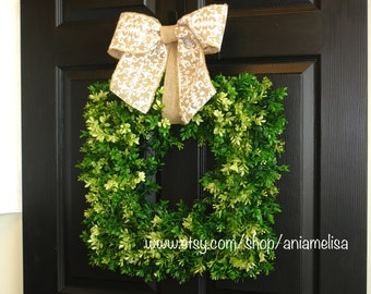 spring summer wreath boxwood outdoor wraths front door wreaths evergreen wreaths, outdoor wreaths