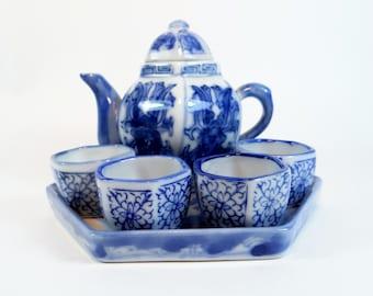 Miniature  Blueware Tea Set - Flow Blue - Oriental Tea Set - Collectible Blue and White Tea Set - Asian  Porcelain