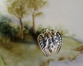 RESERVED Green Man Spoon Ring Sterling Silver Spring Woodland Nature Forest Unique Gift Idea