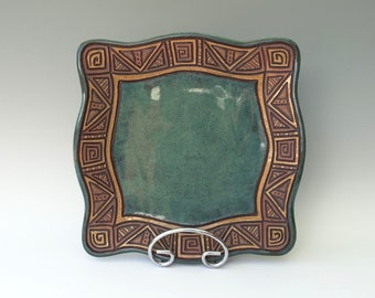 Hand Built Serving Plate • Hand Carved • Stoneware • Platter • Blue Green Brown Turquoise • Square • Rustic • Triangles • Aztec