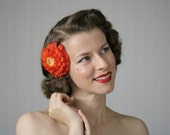 "Orange Hair Accessory, Tomato Red Fascinator Flower Clip, 1950s Floral Headpiece, Zinnia Vintage - ""Orange Clove"""