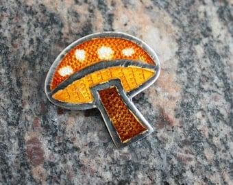 Sterling silver brooch enamel mushroom  pin Taxco Mexico artisan handmade guilloche enamel 70s vintage GIFT