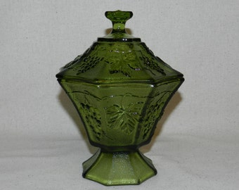 Candy Dish, Anchor Hocking Avocado Green Glass Pedestal Candy Dish With Lid, Grapevine Leaf Design