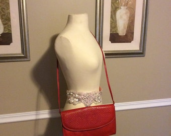 Vintage 1970 red woven leather purse *made in Greece