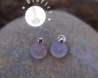 TRAGUS SET 3mm and 2mm Discs Sterling silver LABRET /16 gauge/ BioFlex/ tragus earring/labret earring/tragus/cartilage earring