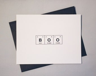 """Halloween Card """"BOO"""" Periodic Table of the Elements / Chemistry Mad Scientist Card / Sentimental Elements / Spooky Card for Fall, Autumn"""